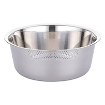 Kitchen Flower Round Stainless Steel Dishpan Basin Bucket Dish Washing up Bowl image 1