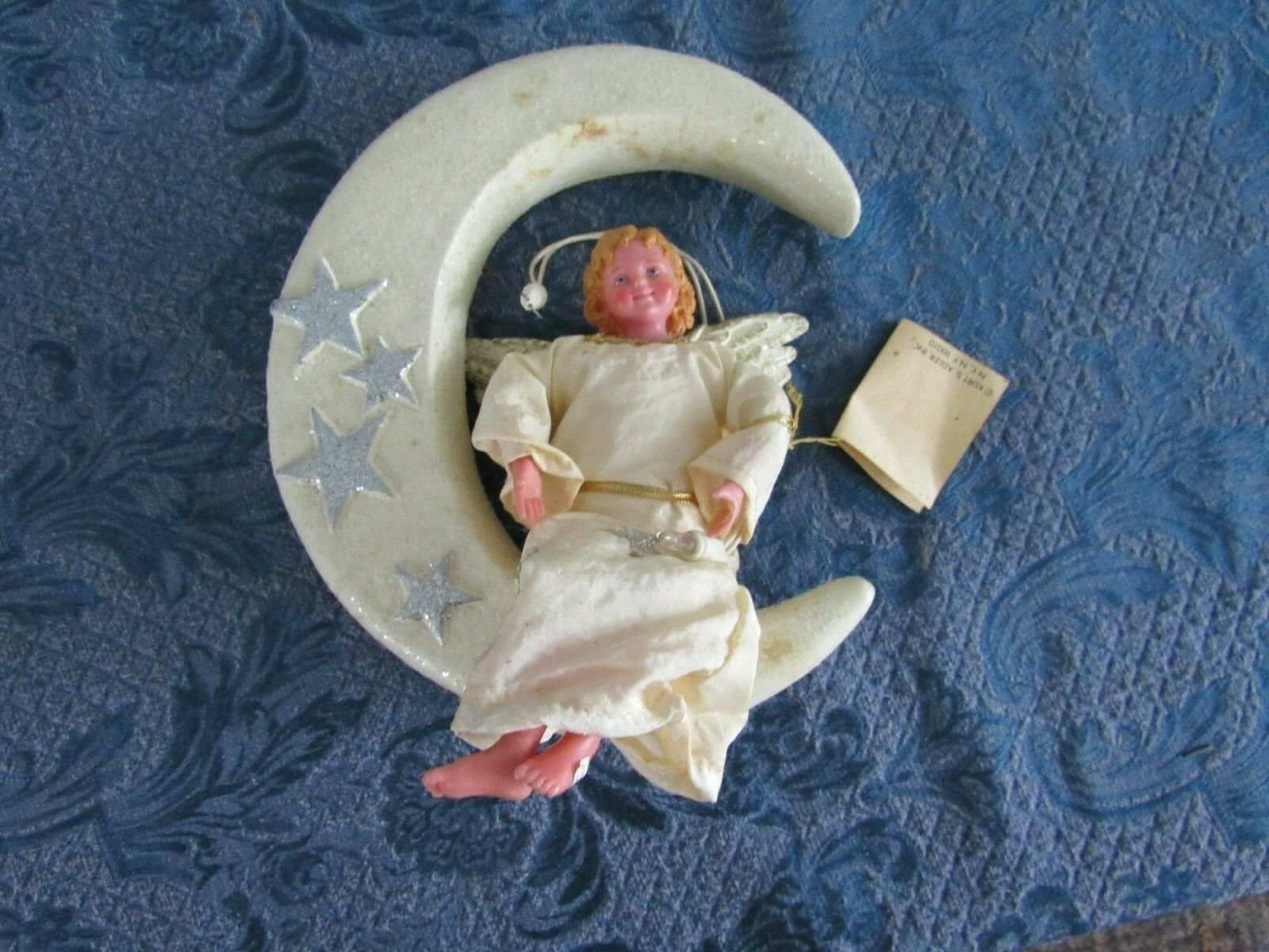 Primary image for Kurt Adler Fabriche  Angel On Moon Christmas Tree Ornament