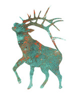 Deer Laser Cut Out Faux Patina Animal Metal Sign 15.5x24 - $45.54
