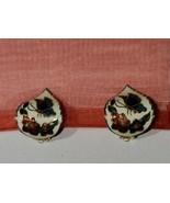 Vintage Clip-On Earrings Enamel Cloisonne Tear Drop Butterfly Flowers Fl... - $9.74