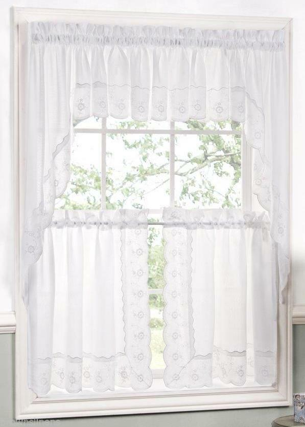 Primary image for Candlewick Scalloped Floral Embroidered Curtain and Swag Set, White