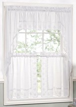 Candlewick Scalloped Floral Embroidered Curtain and Swag Set, White - $19.99