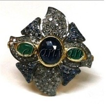 Antique Style 1.28CT Rose Cut Diamond 925 Silver Emerald Sapphire Ring C... - $264.00