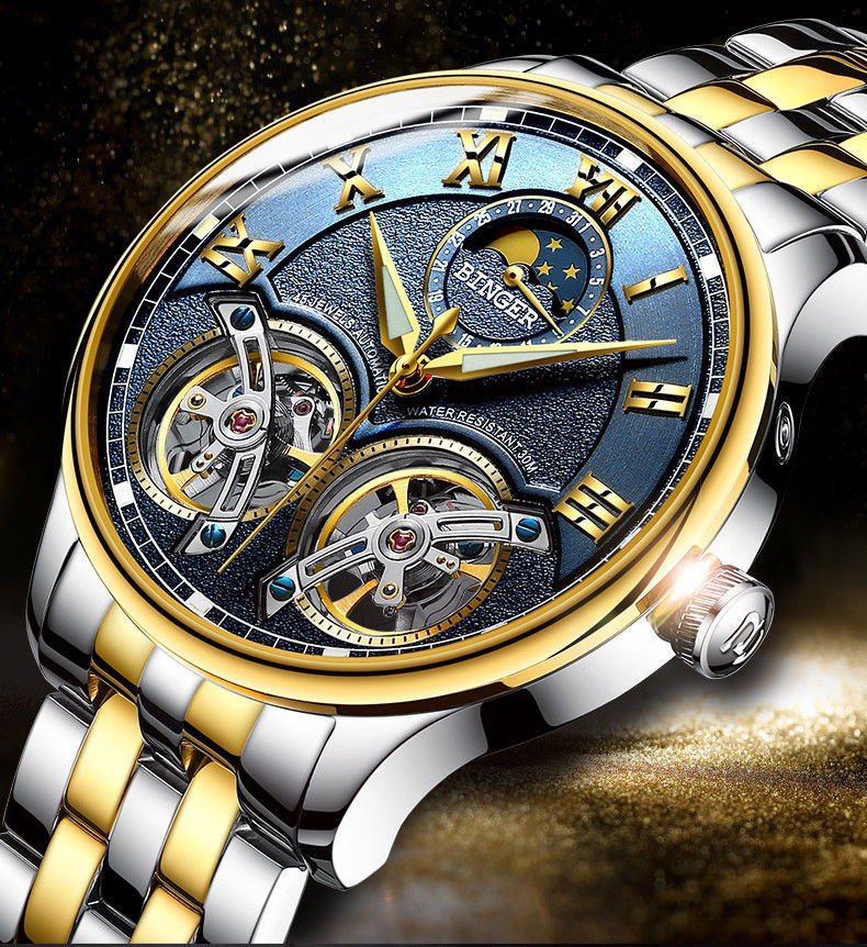 Automatic Mechanical Luxury Skeleton Tourbillon Swiss Wrist Sapphire Watch Men S
