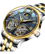 Automatic Mechanical Luxury Skeleton Tourbillon Swiss Wrist Sapphire Wat... - $248.20 CAD