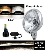 "5-3/4"" Motorcycle Crystal 6v LED Headlamp w/ Chrome Bucket Bottom Mount ... - $89.95"
