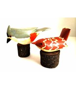 Two Hand Carved Wooden Birds on Tiny Logs Folk Art Crafts 4 inches Tall - $19.79