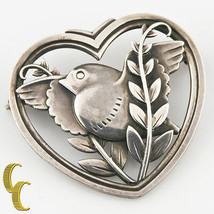 Vintage Georg Jensen Sterling Silver Dove and Olive Branch Pin #239 13.1... - $685.86