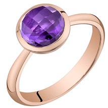 Women's 14k Rose Gold Round Amethyst Solitaire Ring - $399.99