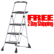 Three Step Max Steel Work Platform Ladder Stool Paint Tray Folding Wide ... - $59.39