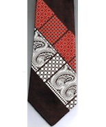 Christian Dior Necktie Dark Brown Red Silver Paisley Geometric 100% Poly... - $23.74