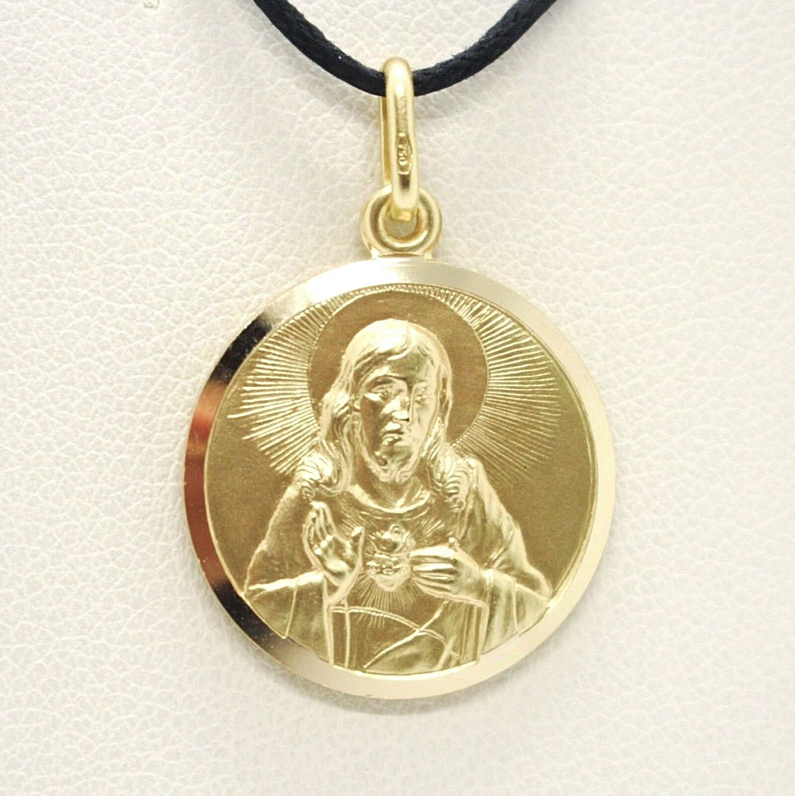 SOLID 18K YELLOW GOLD SACRED HEART OF JESUS 13 MM ROUND MEDAL, MADE IN ITALY