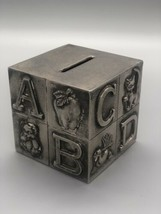 Vintage Baby's Silver Plated ABC Block Bank, Childs Cube Block Coin Pigg... - $9.75
