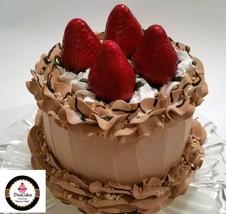 """Chocolate Strawberry Mousse Cake 6"""" Faux Cake- Fake Food Decoration Dezicakes - $28.70"""