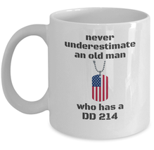 Veteran coffee mug -  Never underestimate and old man who has a DD 214  - army  - $20.90