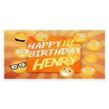 Retro Emoji Birthday Banner Personalized Custom Party Backdrop Decoration - $22.28+