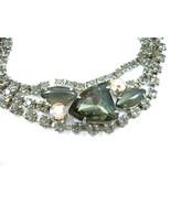 "SMOKEY GRAY & AB Rhinestones BRACELET Vintage Grey GLASS CABS Silvertone 7"" - $24.99"
