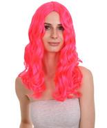 Sexy Long Wavy Halloween Neon Pink Wig HW-746 - £23.32 GBP