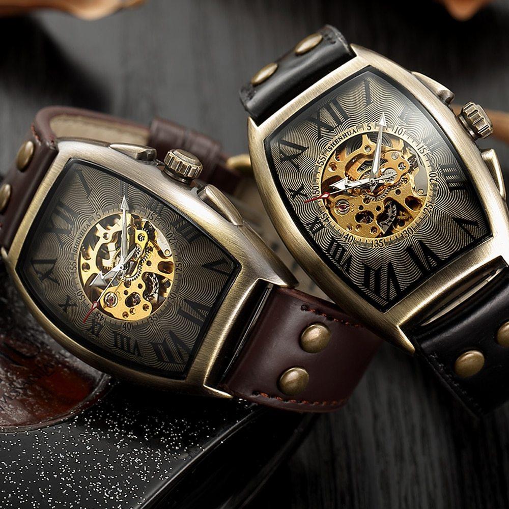 Tage automatic watch men mechanical wrist watches mens fashion skeleton retro bronze watch clock