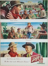Vintage Magazine Ad 1949 SHLITZ BEER - Cowboy Time on the Ranch - $2.82