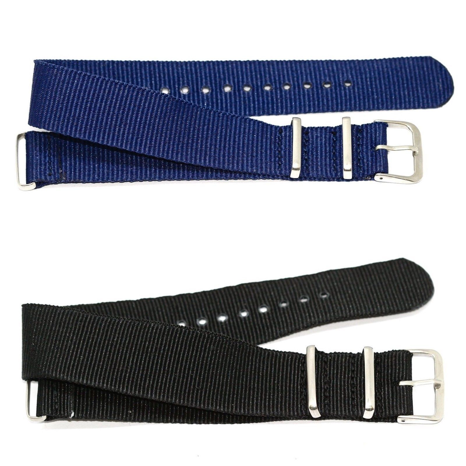 Primary image for 2 PCS 20MM BLUE BLACK NYLON FOR G10 BALLISTIC RAF MILITARY WEEKENDER WATCH BAND