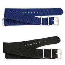 2 Pcs 20MM Blue Black Nylon For G10 Ballistic Raf Military Weekender Watch Band - $14.85