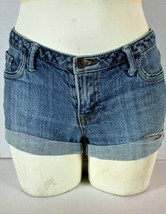 FOREVER 21 womens Sz 27 W 30 blue denim CUFFED zip up stretch shorts (F)P - $11.93