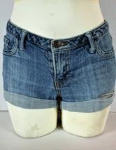 FOREVER 21 womens Sz 27 W 30 blue denim CUFFED zip up stretch shorts (F)P - $11.93