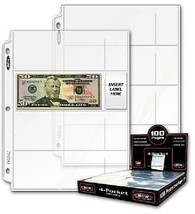 20 (Twenty) - Bcw Pro 4-Pocket Modern Currency Storage Page - Coin  Curr... - $7.92