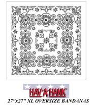 "Hav-A-Hank XL BIG SUPER-SIZED WHITE PAISLEY 27""BANDANA Head Neck Face Ma... - $8.39"