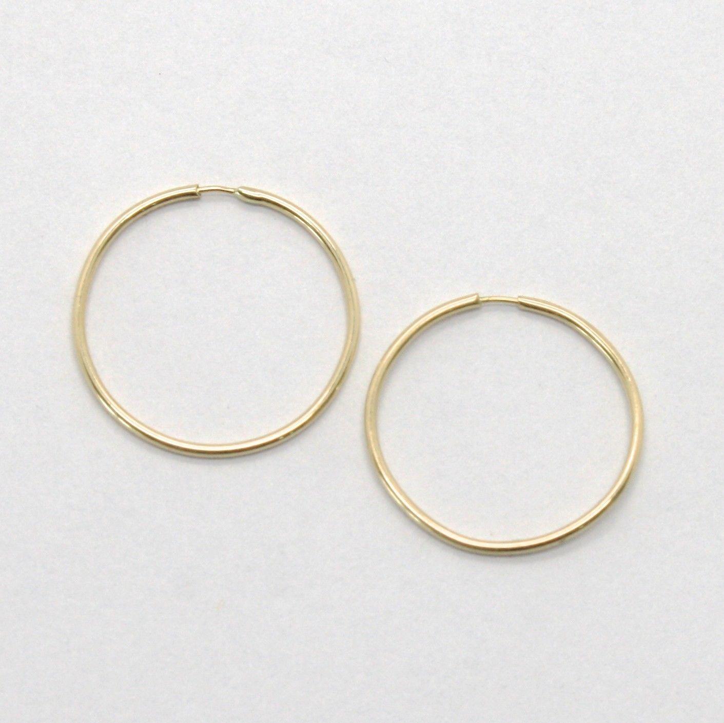 18K YELLOW GOLD CIRCLE HOOPS MINI TUBE 1 MM EARRINGS, DIAMETER 18 MM