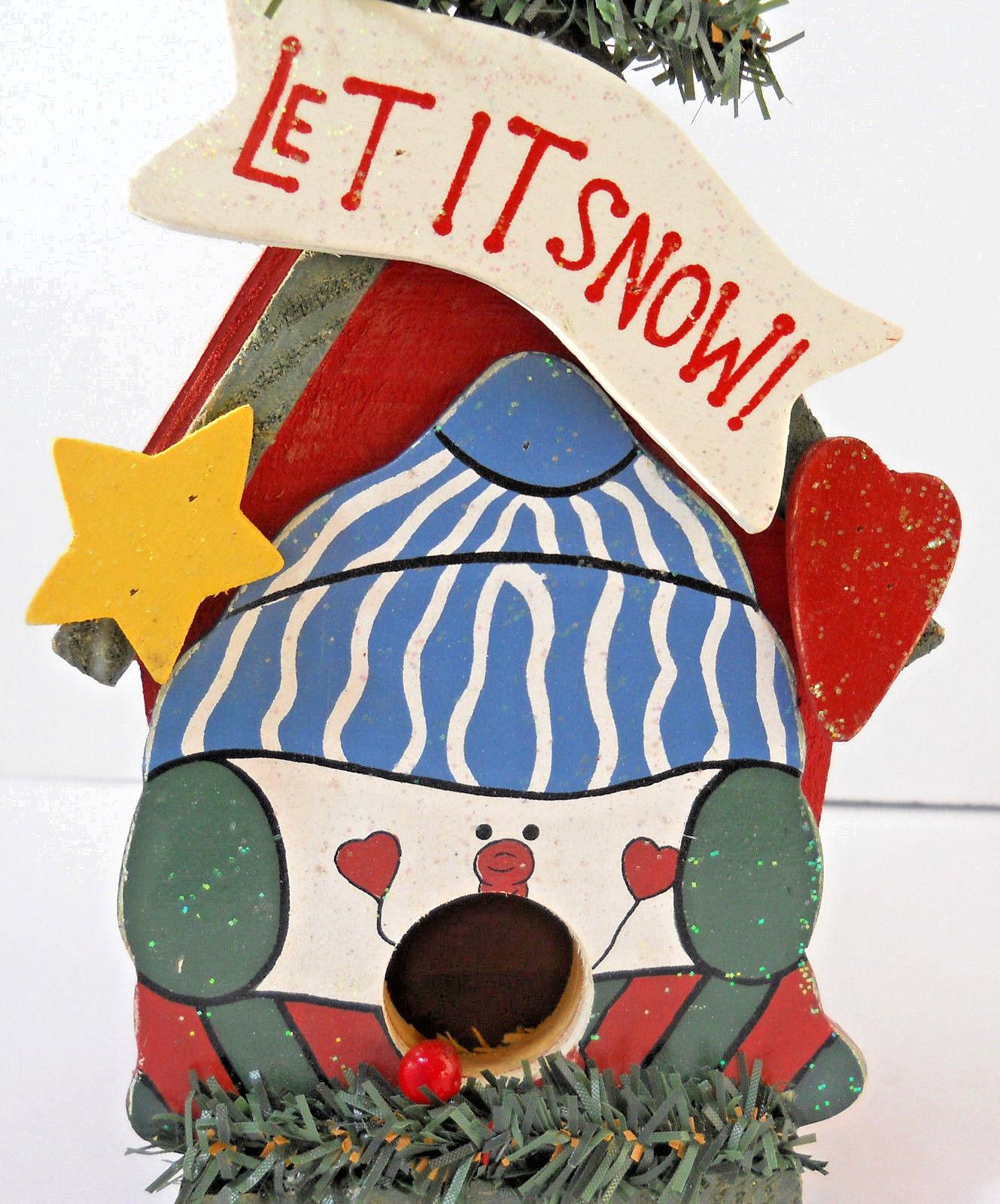 Christmas Wooden Birdhouse Let It Snow 7 X 4 14