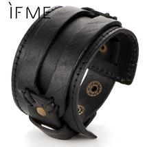 IF ME Fashion Men Leather Bracelet Open Cuff Rope Bangles & Bracelet Dou... - $14.99