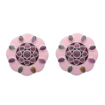 Round Disc Multi Tourmaline 925 Sterling Silver Stud Earring SHER0474 - $50.77