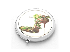 Secret Garden Exotic Leopard Heel Folding Makeup Round Compact Mirror - $8.95