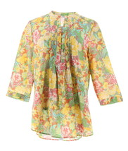 Liz Claiborne NY Floral Print Button Front Tunic Yellow Floral 12 NEW A262177 - $32.65