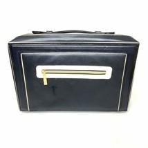 """Estee Lauder Black Makeup Case White Accent Gold Zipper Carry On 11x13"""" ... - $14.98"""
