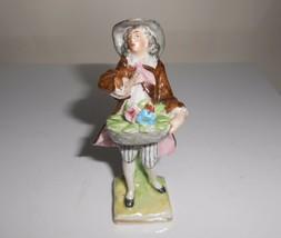 Erphila Germany Porcelain Figurine With Flower Basket Vintage - $9.50
