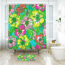 Flower Lilly Big Flirt Shower Curtain Waterproof & Bath Mat For Bathroom - $15.30+
