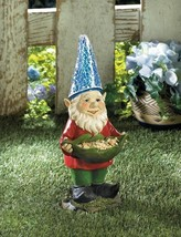 GNOME BIRDFEEDER Solar Light Garden Statue Outdoor Decor - $27.40