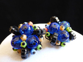 Vintage Alice Caviness Cobalt Blue art Glass  cluster clip Earrings signed - $59.40