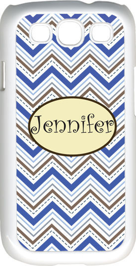 Primary image for Monogrammed Multi Blue Chevron Design Samsung Galaxy S3 Case Cover
