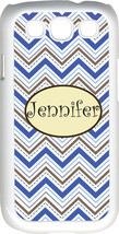 Monogrammed Multi Blue Chevron Design Samsung Galaxy S3 Case Cover - $15.95