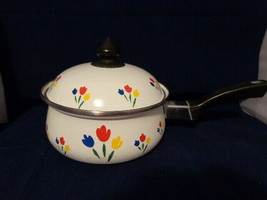 Vintage Enamel Coated Floral Red Yellow Blue & White Pot 2.25 qt. Saucep... - $12.24