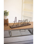 RELIGIOUS  RECYCLED METAL TABLE  DECOR SIGN PLAQUE FIGURINE ~AMEN~ - $39.60
