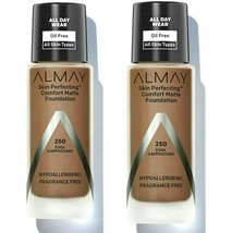 Almay Skin Perfecting Comfort Matte Foundation #250 Cool Cappuccino ☆2☆ New Disc - $16.78