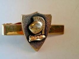 Vintage Swank Tie Clamp Knight Armor Helmet Coat of Arms Trojan Gold-Ton... - $14.49