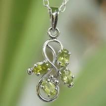 Pendant Peridot Natural oval gemstone 925 Sterling Silver handmade IC410 - $14.95