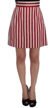 Dolce & Gabbana Silver Red Striped Above Knees Skirt - $307.78