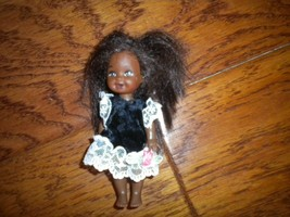 "Vintage 1994 Mattel Barbie Doll Black Hair African American Brown Eyes 4 1/2"" - $12.47"